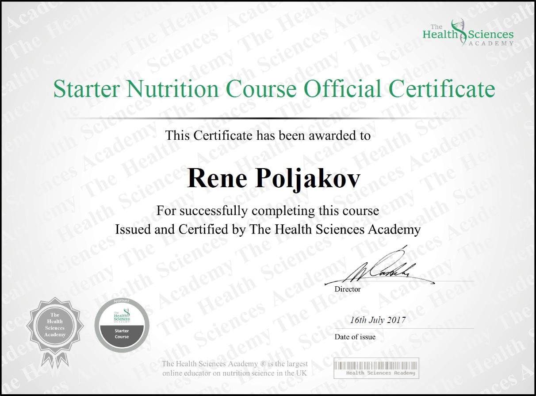 Rene Poljakov, Toitumisspetsialisti sertifikaat